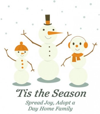 Adopt a Day Home Family and Spread the Joy - drawing of three snowmen