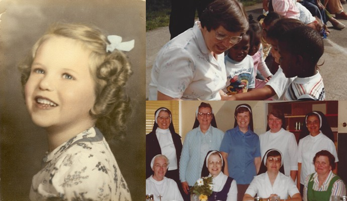 Sister Ann Maureen as a child, on her birthday and working with children.