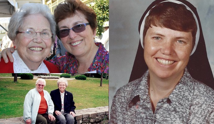 Sister Ann Maureen with Corinne, with Pat in New York and as a young sister.